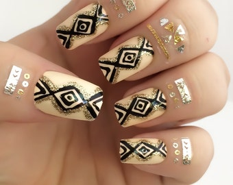 Tribal Fake Nail Set - Aztec False Nails - Nude Acrylic Nails - Glitter Artificial Nails - Press On Nails - Glue On Nails - Gifts For Her