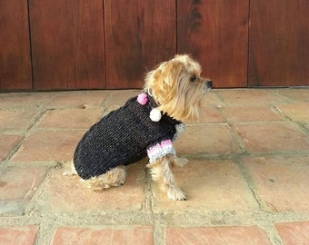 On Sale / Cable-Knit Turtleneck Dog Sweater /100% Pure Wool from the Andes /Pom pom Jumper/Charcoal / Fashion Pet
