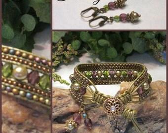 TUSCANY Beaded Leather Wrap Cuff Bracelet, 5 Row Leather Wrap, Leather Cuff Bracelet, Boho Vintage Style Handmade Jewelry, Ravengirl Design
