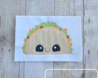 Taco with Face Appliqué embroidery Design - taco appliqué design - taco Tuesday appliqué design - Mexican food appliqué design - food