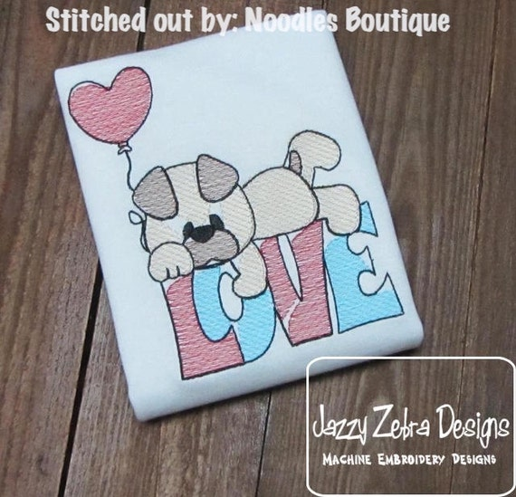 Puppy Love Word Sketch Embroidery Design - Valentine Sketch Embroidery Design - Valentines Day Sketch Embroidery Design