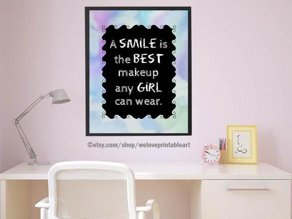 A Smile is the Best Makeup, Teen Girl Quote, Girl Art Print, Teen Room Decor, Teen Girl Wall Art, Wall Decor, Gift Idea for Teen Girl