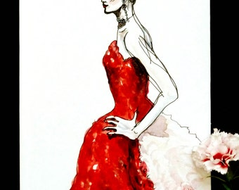 Alexander McQueen AW08 Fashion Illustration, One of a Kind Notebook Sketchbook