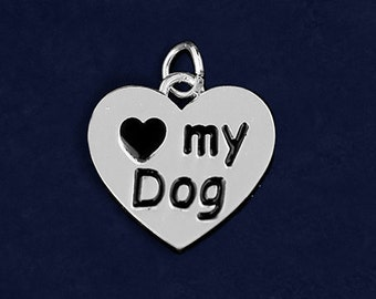 25 I Love My Dog Charms (25 Charms) (CHARM-07-P)