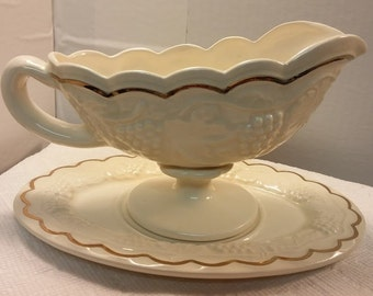Ceramic Grape Design Gravy Boat and Saucer