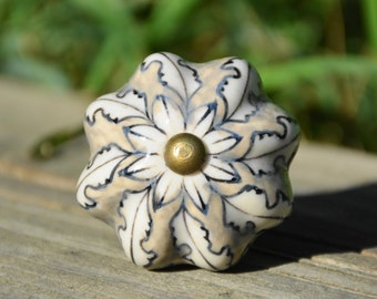 Gray knob/grey knob/floral ceramic knob/large knob/melon knob/flower knob/cabinet knob/drawer pull/dresser knob/decorative knob/bedroom knob
