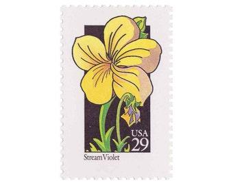 10 Unused Vintage Postage Stamps - 1992 29c Wildflower Series - Stream Violet - Item No. 2655