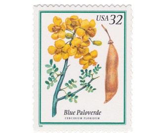 5 Unused US Postage Stamps - 1998 32c Flowering Trees - Blue Paloverde - Item No. 3194
