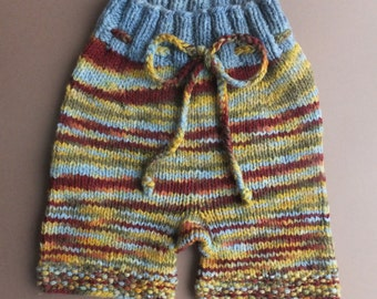Handknit Wool Shorts, Wool Soaker, Wool Diaper Cover, Cloth Diaper Cover, size Medium/Large