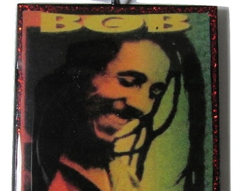Bob Marley Rasta Necklace/Medallion (Square Pendant) | Wood Necklace/Medallion