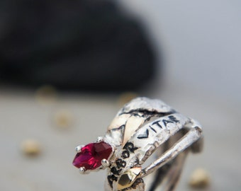 SALE! Latin quote ring, silver and gold, ancient ring, modern ring, ruby ring, latin quote jewelry, unique ring size 6, rough ring, unusual