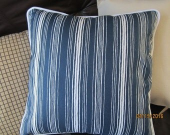 Navy blue and white nautical stripe throw pillow with cording