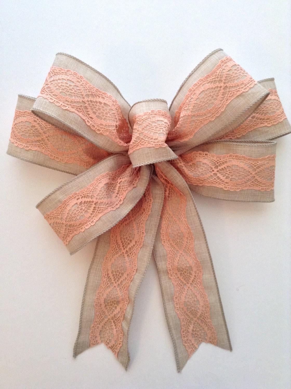 burlap peach lace decorative bow wreath bow burlap decor. Black Bedroom Furniture Sets. Home Design Ideas