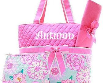 Diaper Bag Baby Diaper Bag Personalized Diaper Bag  Monogrammed Hot Pink Floral Diaper Bag Embroidery Monogram Monogrammed Diaper Bags