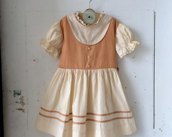 1950s 1960s Girls Cotton Day Dress Mid Century Cream and Brown Full Skirt Puffy Sleeves Size 6 Size 7