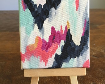 """Mini masterpiece tiny 2""""x2"""" acrylic abstract ikat painting on wooden easel"""