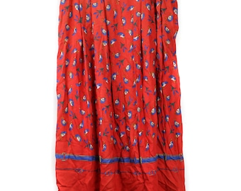 80's High Waisted Red Pleated Duck Print Skirt
