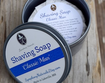 Classic Man Shaving Soap, Sophisticated Warmth! Soap, Brush, Tin, Choose All Three, Or Order Individually.