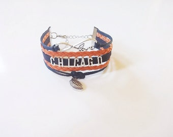 Love CHICAGO Football Orange Navy Blue Cord Bracelet