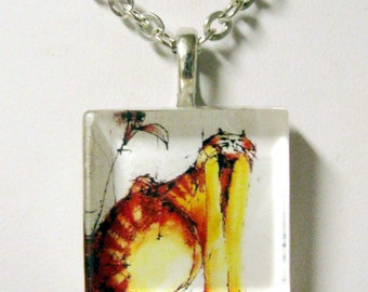 Cat and flower art pendant and chain - CGP01-013