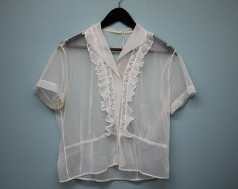 Sheer Button Down Blouse with Ruffles