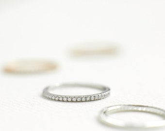 Silver Half Eternity Rings 1.2mm - Silver Stacking Rings - Thin Sterling Silver Band - Silver Wedding Band - Cubic Zirconia Pave Band - A45