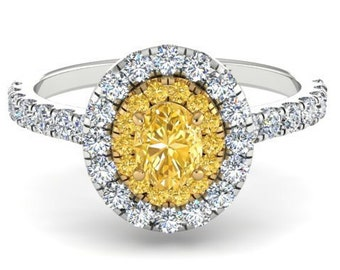 Natural Yellow Diamond Engagement Ring, Not Treated Yellow Diamond Ring, Natural Diamond Wedding Ring, Intense Yellow Diamond Ring