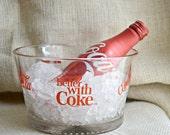 Vintage Coke glass ice bucket // Vintage Coca cola // Coke ice bucket