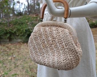Vintage wicker top handle handbag