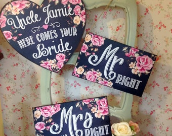 Here comes the bride sign, Last Chance to Run, wedding decor, pageboy, flowergirl, ring bearer, Thank You Signs, Mr Righr Mrs Always Right