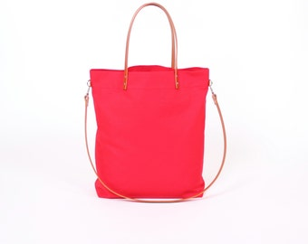 """Canvas bag """"Greta"""" red / / red white striped with leather handles"""