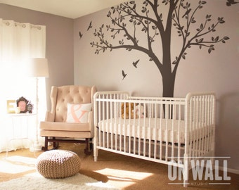 Large Nursery Tree Wall - Nursery Wall Sticker - Tree vinyl Wall Decal - Tree Decal with  Birds  K013