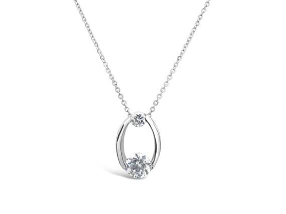 Double Cubic Zirconia Pendant - Silver Hoop Pendant - Silver Necklace Pendant - Cubic Zirconia Jewelry - Cubic Zirconia Necklace Pendant Double Cubic Zirconia Pendant Silver Hoop by Sevencaratshop - 웹