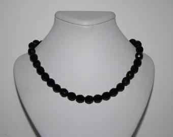 "Beautiful Vintage Black Onyx Beaded 20"" Necklace"