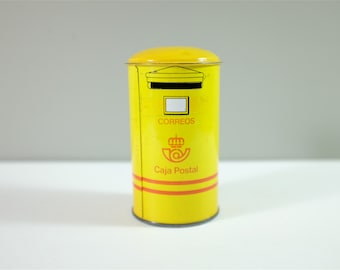 Vintage yellow piggy bank from Spain - Spanish mail box piggy bank - Spanish mail box - Vintage piggy bank - Mail box money box from Spain