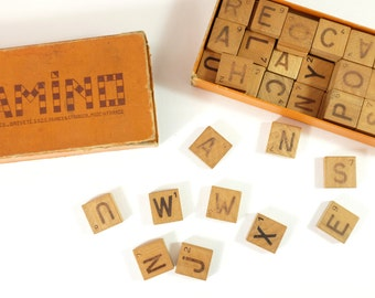 Diamino, French Vintage Letter Game - Diamino, wood letter game.