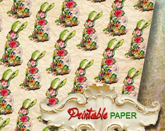 FLOWER BUNNY -  Printable wrapping paper for Scrapbooking, Creat - Download and Print