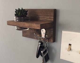 Key holder, apartment decor, small key holder, succulent, shelf, key hook, gift idea, dorm decor, wall key holder, for her, wall decor