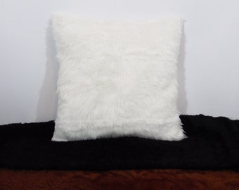 Custom made white, brown or black faux fur fuzzy pillow cover/sham. Custom sizes available.