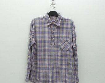 45rpm Shirt 45rpm Half Button Down Shirt 45rpm Plaid Shirt Lightweight Shirt NMD 45rpm Casual Size 3 Mens Size L