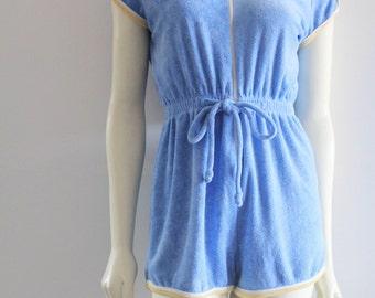 Super Adrobs 70's Vintage Baby Blue Sport Stripe Cap Sleeve Terry Cloth Romper