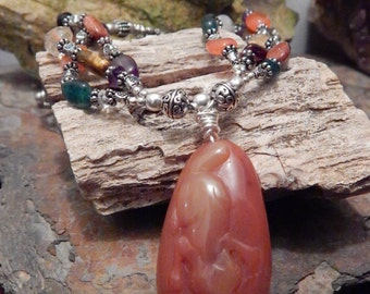 Carnelian Fox Multistone Necklace