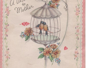 Used 1940s Valentine for Mother, birds in cage, flowers, glitter, good shape