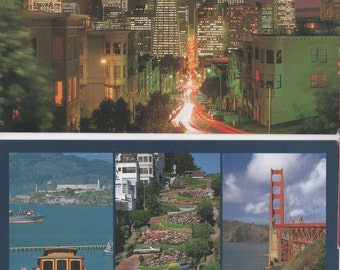 San Francisco, California, Set of 4 Unused Postcards,  1988, good shape, Golden Gate Bridge, Cable Cars