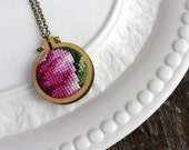 Handmade Vintage Fuchsia Purple Cross Stitch Pendant Necklace. Stitched Antique Needlework Embroidery Hoop. One of a Kind Gifts Under 30.