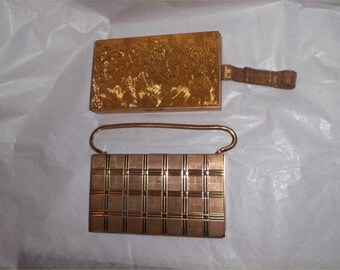 GLITZY Goldtone EVANS 1950s CARRYALL Vanity Case Dynamic Duo ~Vintage Compact Purse Lot ~Powder, Lipstick, Comb ~Mad Men Chic!