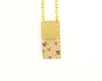 Necklace gold geometric two square lilac flowers and delicate peas - handmade
