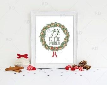 SALE! Joy to the world - PRINTABLE Wall Art / Christmas joy to the world print / Christmas printable / Christmas Wall Art / Christmas lyrics