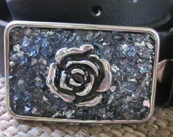women's belt buckle Bohemian belt buckle women's belt buckle blue embellished silver flower belt buckle boho belt buckle beaded belt buckle