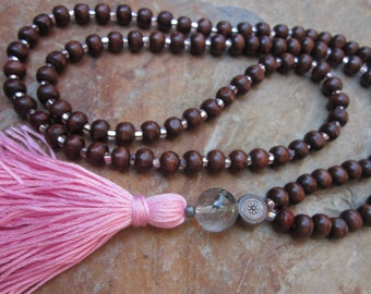 Long Beaded necklace 108 wood bead mala wooden mala Czech glass pink tassel necklace Bohemian jewelry quartz yoga beaded necklace